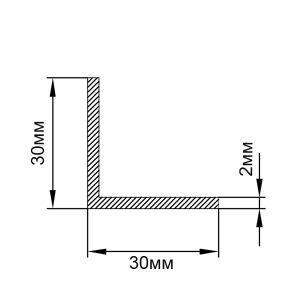 Уголок алюминиевый 30х30х2 мм, анод серебро