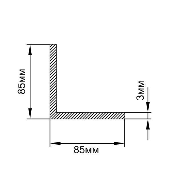 Алюминиевый профиль уголок 85х85х3