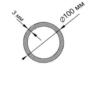 Алюминиевая труба круглая 100х3 мм, анод серебро