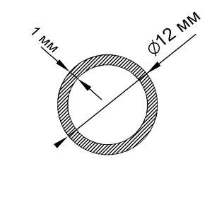 Алюмінієва труба кругла 12х1 мм, анод срібло
