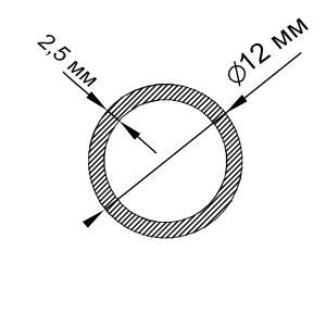 Алюмінієва труба кругла 12х2,5 мм, анод срібло