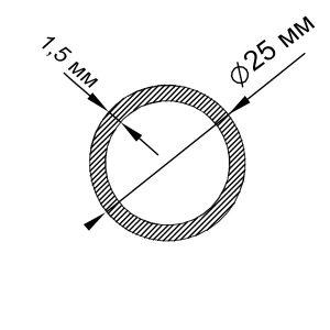 Алюминиевая труба круглая 25х1,5 мм, анод серебро