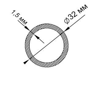 Алюминиевая труба круглая 32х1,5 мм, анод серебро