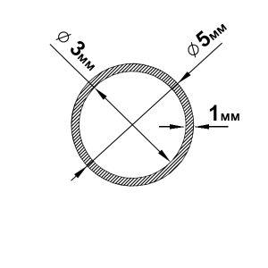 Алюминиевая труба круглая 5х1 мм, анод серебро