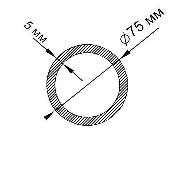 алюминиевая труба круглая 75х5