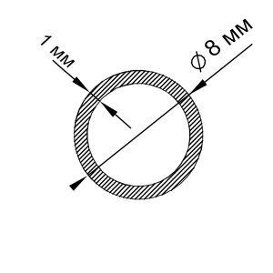 Алюмінієва труба кругла 8х1 мм, анод срібло