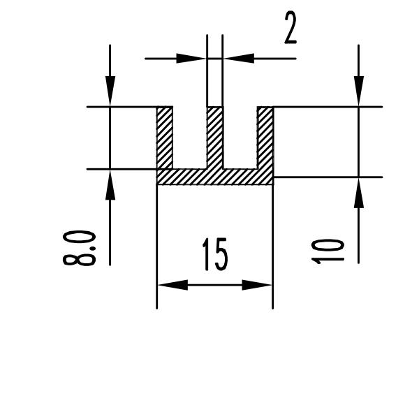 ш профиль алюминиевый 15х10х2