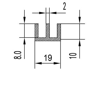 Ш-образный профиль алюминиевый 19х10х2 анод