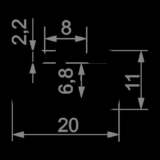 станочный профиль Т-трек 20х11 под М8