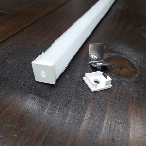 Профиль угловой с квадратным рассеивателем для светодиодной ленты ПФ-9. Комплект, длина-2м