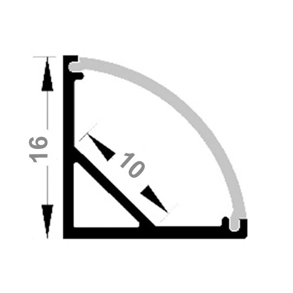 Светодиодный профиль угловой с радиальным рассеивателем ПФ-9