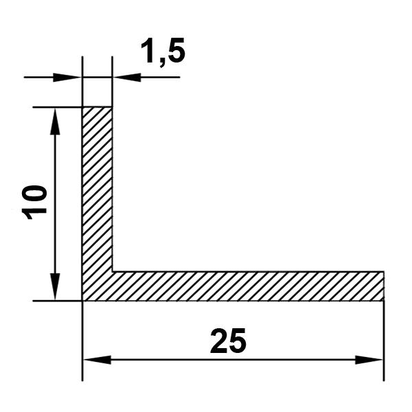 алюминиевый уголок 25х10х15