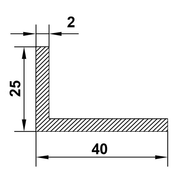 алюминиевый уголок 40х25х2