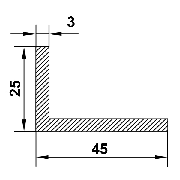 алюминиевый уголок 45х25х3