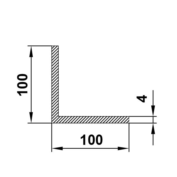 алюминиевый профиль уголок 100х400х4