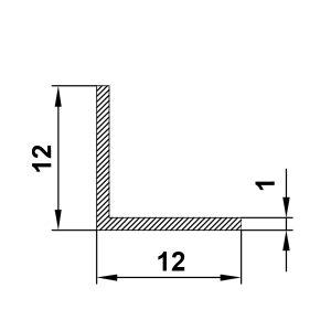 алюминиевый профиль уголок 12х12х1