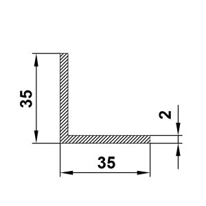 Уголок алюминиевый 35х35х2 мм, без покрытия