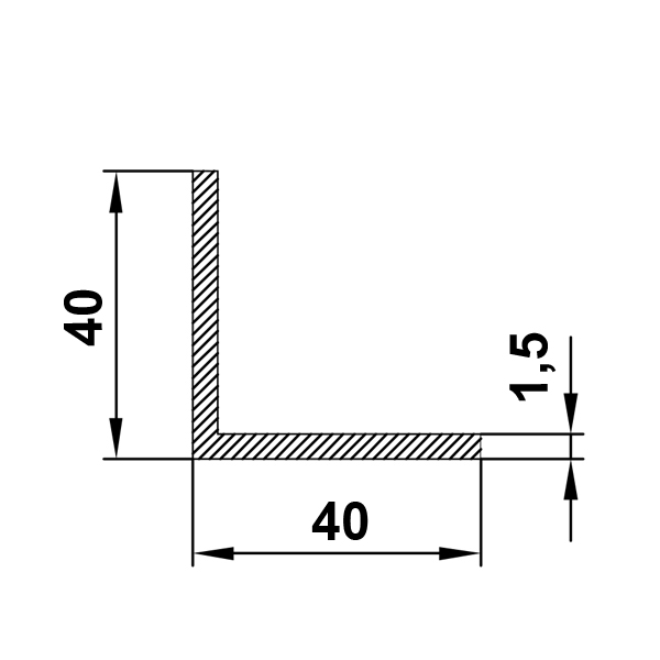 алюминиевый профиль уголок 40х40х1,5
