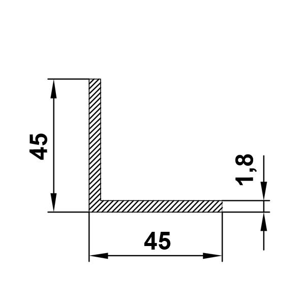 алюминиевый профиль уголок 45х45х1,8