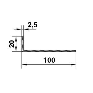 Алюминиевый уголок 100х20х2,5 мм, без покрытия