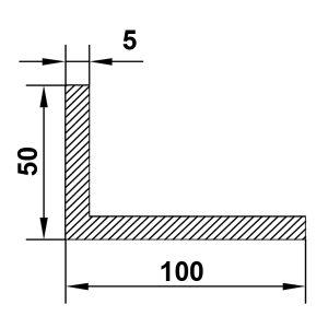Алюминиевый уголок 100х50х5 мм, без покрытия