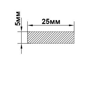 Алюминиевая полоса 25х5 мм, без покрытия