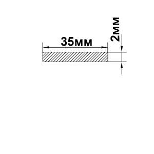 Алюмінієва пластина 35х2 мм, без покриття