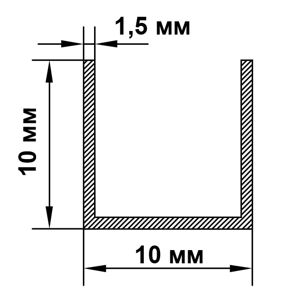 швеллер алюминиевый 10х10х1,5