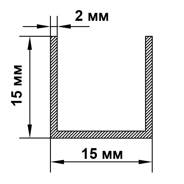 швеллер алюминиевый 15х15х2