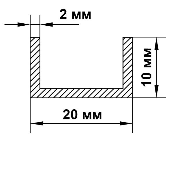швеллер алюминиевый 20х10х2