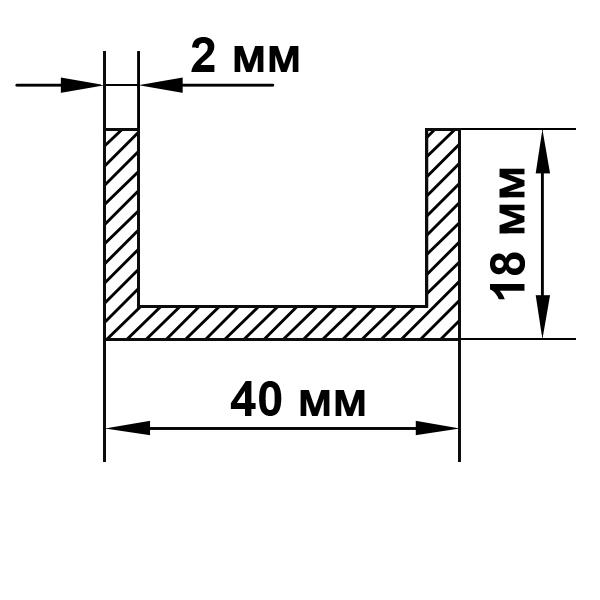 швеллер алюминиевый 40х18х2