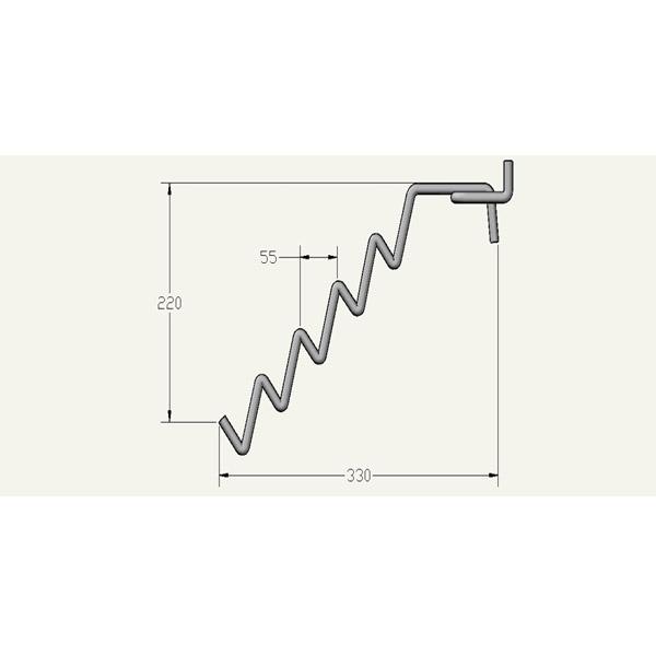Крючок торговый змейка наклонный чертеж