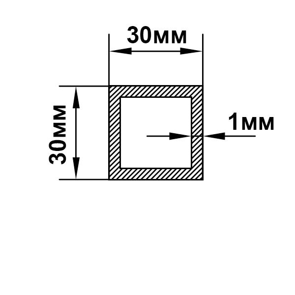 алюминиевая труба квадратная 30х30х1