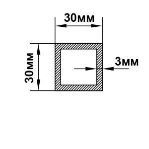 Алюминиевая труба квадратная 30х30х3 мм, анод серебро
