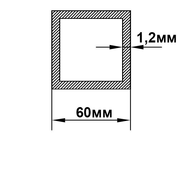 алюминиевая труба квадратная 60х60х1,2