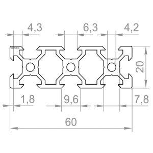 Верстатний профіль, 20х60 V-слот М6
