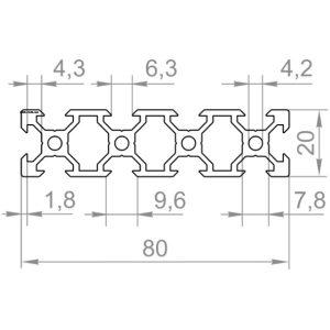Верстатний профіль, 20х80 V-слот М6