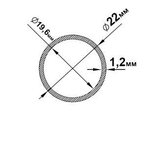 Алюмінієва труба кругла 22х1,2 мм, без покриття