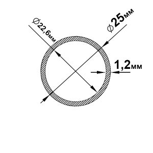 Алюмінієва труба кругла 25х1,2 мм, без покриття