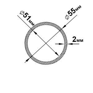 Алюминиевая труба круглая 55х2 мм, без покрытия