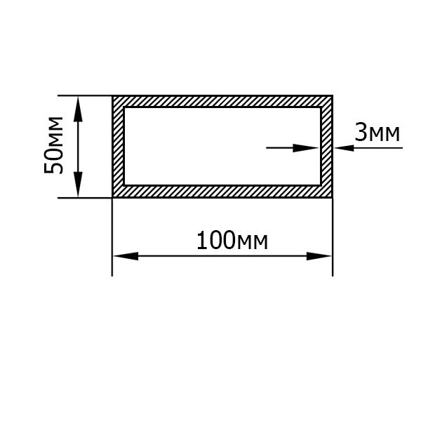 алюминиевая труба прямоугольная 100х50х3