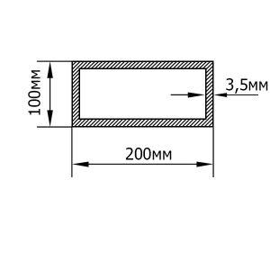 Алюмінієва труба прямокутна 200х100х3,5 мм, анод срібло