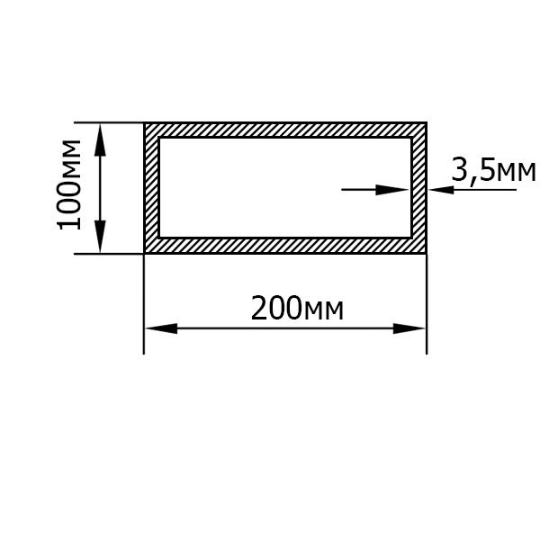 алюминиевая труба прямоугольная 200х100х3,5