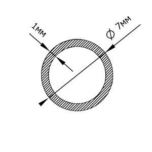 Алюмінієва труба кругла 7х1 мм, анод срібло