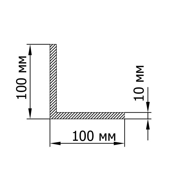 Алюмінієвий кутник 100х100х10
