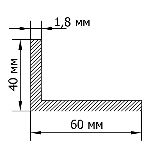 алюмінієвий кутник 60х40х1,8