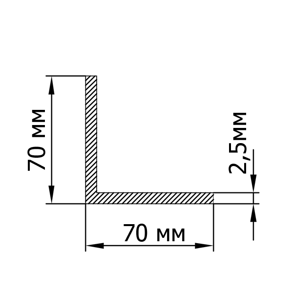 Алюмінієвий кутник 70х70х2,5